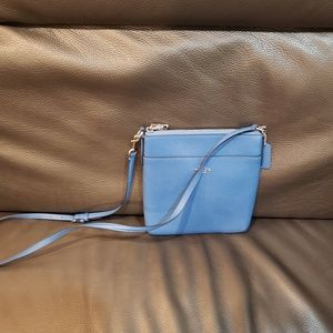 Coach Messenger Crossbody in Pebbled Leather Blue